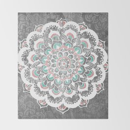 Pastel Floral Medallion on Faded Silver Wood Throw Blanket