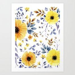 Yellow watercolor flowers Art Print