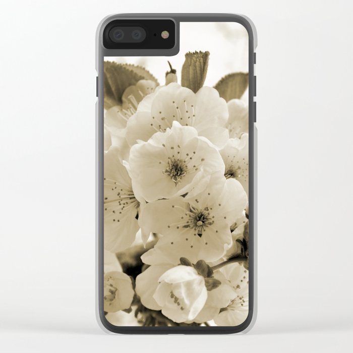 Cherry Blossoms Monochrome Clear iPhone Case