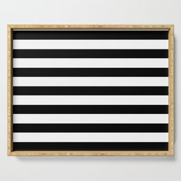 Midnight Black and White Stripes Serving Tray