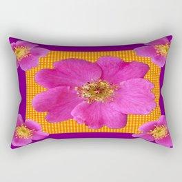 Wild Fuchsia Purple Roses with Orange cHECK  Pattern Rectangular Pillow