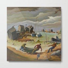 The Hurricane Harbor Landscape Painting by Thomas Hart Benton Metal Print