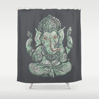 ganesha Shower Curtains featuring Ganesha by Thomcat23