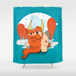 Graggy, the plump Happy Chaos Monster of Scotland Shower Curtain