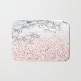 She Sparkles - Pastel Pink Glitter Rose Gold Marble Bath Mat