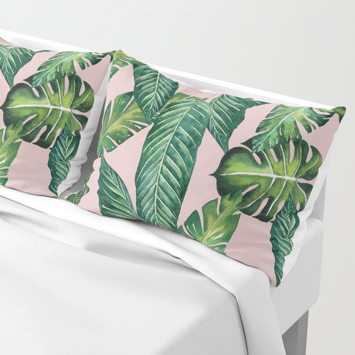 Jungle Leaves, Banana, Monstera II Pink #society6 Kissenbezug