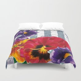 Stripes and Flowers Duvet Cover