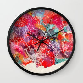 Ponce map Puerto Rico painting 2 Wall Clock