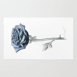 Rose 03 Botanical Flower * Blue Black Rose : Love, Honor, Faith, Beauty, Passion, Devotion & Wisdom Rug