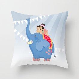 Blue Circus Throw Pillow