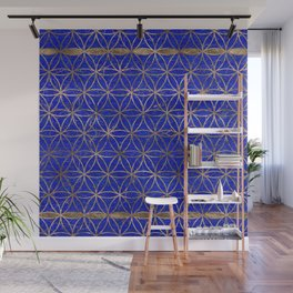 Flower of life pattern - Lapis Lazuli and Gold Wall Mural