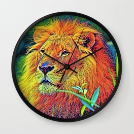 AnimalColor_Lion_005_by_JAMColors Wall Clock