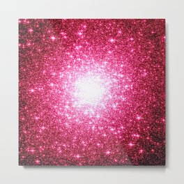 Hot Pink Galaxy Sparkle Stars Metal Print