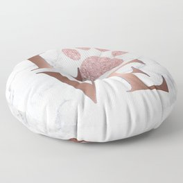 Love is a Four Letter Word - Rose Gold and Marble Floor Pillow
