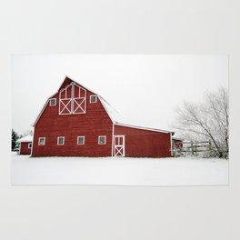 Snowy Red Barn Rug