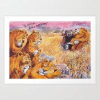 vegetarian Art Prints featuring vegetarian lion by Rose Rigden