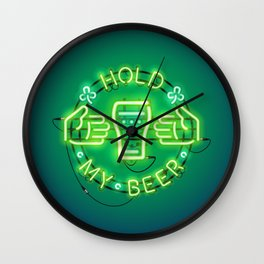 Hold My Beer Neon Sign Green Wall Clock
