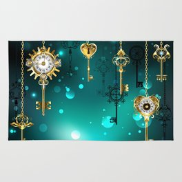 Antique Keys on Green Background ( Steampunk ) Rug