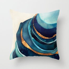 Abstract Blue with Gold Throw Pillow