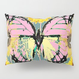 ABSTRACT PINK BUTTERFLY TEAL GARDEN SUNFLOWER Pillow Sham