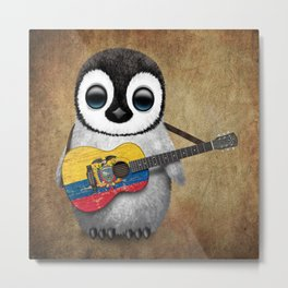 Baby Penguin Playing Ecuadorian Flag Acoustic Guitar Metal Print
