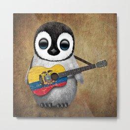 Baby Penguin Playing Ecuadorian Flag Acoustic Guitar Metal Print