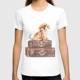 Dog and suitcases T-shirt