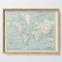 World Map in Blue and Cream Serving Tray