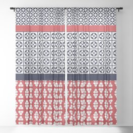 Japanese Style Ethnic Quilt Blue and Red Sheer Curtain