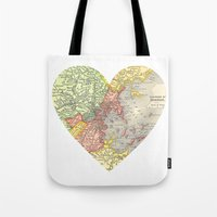 boston map Tote Bags featuring I Love Boston Vintage Map by Eyne Photography