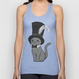 Grey Cat Wears Plumed Top Hat Unisex Tank Top