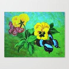 Pensies and Butterflies Canvas Print