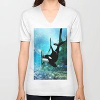 orca V-neck T-shirts featuring Orca by nicky2342