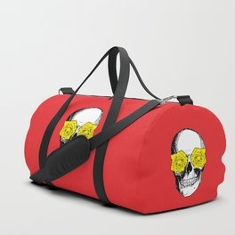Skull and Roses   Red and Yellow Duffle Bag