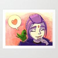 teen titans Art Prints featuring Teen Titans BBRae: Bird Talk by samarasketch