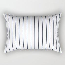 Classic Blue Baseball Stripe Lines On White Rectangular Pillow