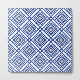 Blue Traditional GeometryPattern Metal Print