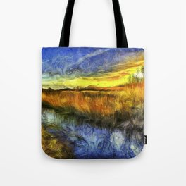 Sunset River Van Gogh Tote Bag