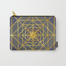 Gold Plated Preppy Blue Mandala Carry-All Pouch