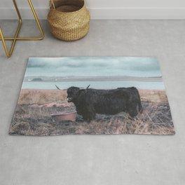 Vintage photography - Highland Cow, Thurso, Scotland Rug