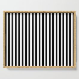 Midnight Black and White Vertical Deck Chair Stripes Serving Tray