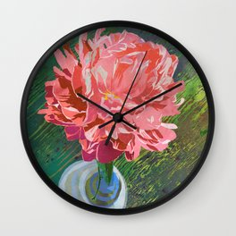 Single Peach Coral Peony in a Ball Canning Jar Wall Clock