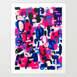 Magenta Blue Abstract Acrylic Painting Kusama Primitive Shapes Art Print