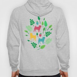 Colorful Pugs with Leaves - Pattern Hoody