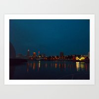 cleveland Art Prints featuring Goodnight, Cleveland  by Julia Blanchette