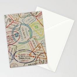 World Traveler Passport Stamp Vintage Design Stationery Cards
