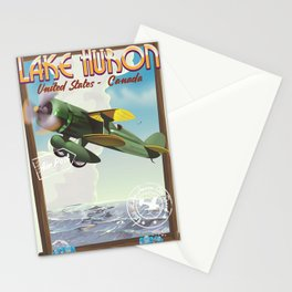 Lake Huron Vintage travel poster. Stationery Cards