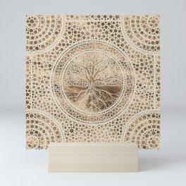 Tree of life - Yggdrasil- Dot Art Pastel Gold Mini Art Print