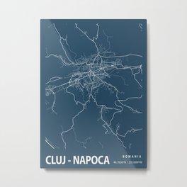 Cluj - Napoca Blueprint Street Map, Cluj - Napoca Colour Map Prints Metal Print
