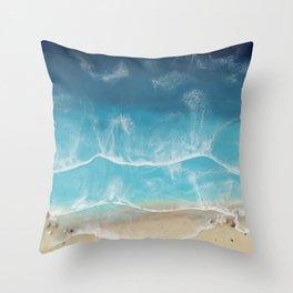 SERENITY BEACH - realistic resin seascape art, ocean art, coastal art, beach painting Throw Pillow